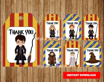 Harry Potter Thank you tags, Printable Harry Potter tags, Harry Potter party tags Instant download