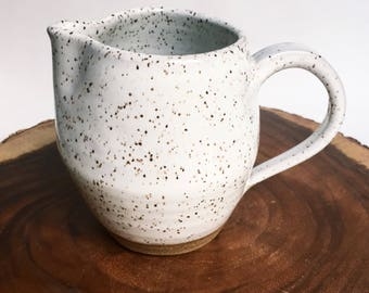 White With Speckles Pitcher (2 Cup Capacity), Pitcher With Handle, Vase, Farmhouse Style
