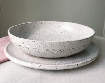MADE TO ORDER White with Speckles Plate Setting Handmade Pottery Dinnerware Set Pasta Bowl & Handmade white dinnerware   Etsy