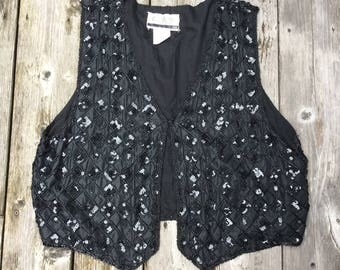 Size 2X beaded and sequined vest or waistcoat, ANTELS Canada, silk