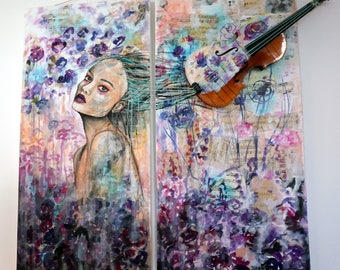 "Mixed media painting ""Lost in the music"""