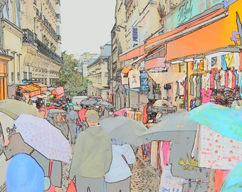 Digital Download Photography - Montmartre Paris Umbrellas