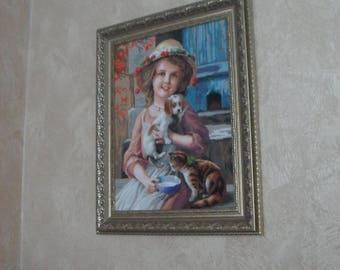 "cross stitch, вышивка ""Liza"", size 41x31.5 centimeters"