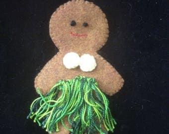 "5"" Felt Hawaiian Gingerbread Ornament"