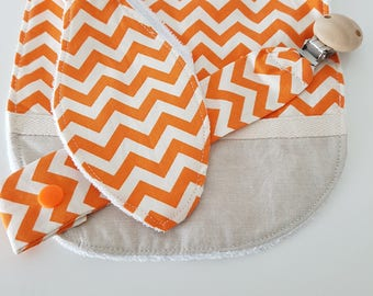 Orange and Beige  design 3 piece set - Bib, Dummy Chain & Teether (Medium)