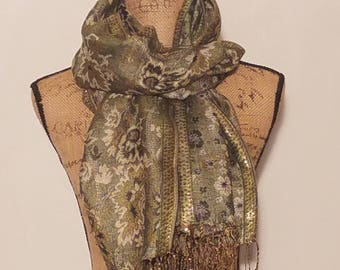 Green and gold hand stitched floral fringe neck scarf or shawl