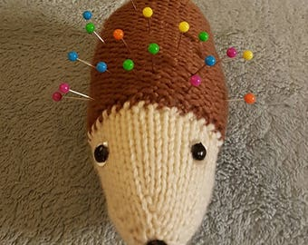 Hand knitted hedgehog pin cushion