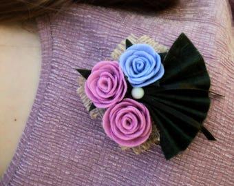 Women Girls Handmade Brooch Felt Roses Handmade Unique Gift Idea