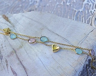 Bracelet Amarine gold, adorned with rose quartz and Aqua blue chalcedony