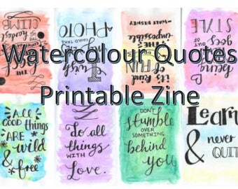 Watercolour Quotes Hand lettering Zine (printable)