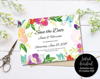 Wedding Save the Date Template, Printable Wedding Save the Date, Editable Save the Date PDF, DIY Save the Date, Watercolor Border 1  SAVE-1