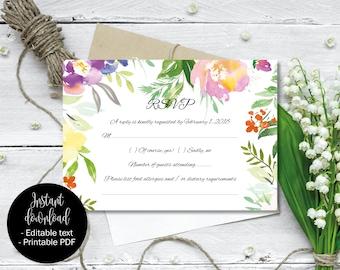 Wedding Rsvp Template Editable, Printable Wedding Rsvp, Editable Wedding Rsvp, DIY Rsvp, PDF Rsvp, Watercolor Flowers Border 7 RSVP-7