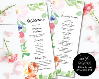 Wedding Day Program Template, Printable Wedding Program, Wedding Order of Service Text Editable PDF, Watercolor Floral Border 4 PROG-4