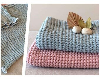 Blue Linen towel, Linen bath towel, Linen towels, Kids towels, Baby towels