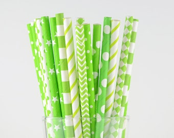 Bright Green/Lime Paper Straw Mix - Party Decor Supply - Cake Pop Sticks - Party Favor