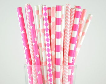 Pink Paper Straws Mix - Party Decor Supply - Cake Pop Sticks - Party Favor