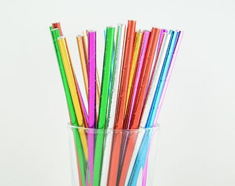 Colorful Foil Paper Straws - Mason Jar Straws - Party Decor Supply - Cake Pop Sticks - Party Favor