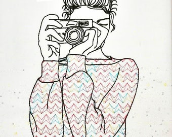 Camera Girl Machine Embroidery Design 4x4 5x7 Instant Digital Embroidery Design