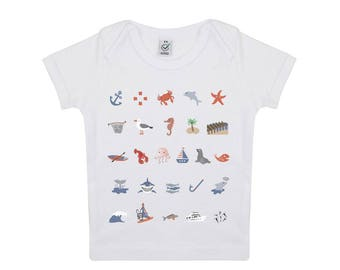 Tshirt bébé illustration marin en coton biologique