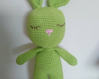 Crochet amigurumi plush toy Rabbit rabbit green, cotton, handmade, soft toy, stuffed animal, children, doll gift