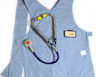 Pretend Play Apron - Scrubs - Doctor, Nurse, Vet - Preschool, Toddler - Costume, Dress-Up - Plum, Teal, Denim