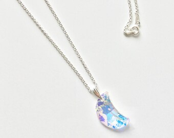 Sterling Silver Swarovski Moon Necklace 18 inches / 45 cm