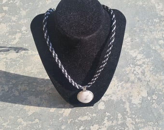 Black, Gray, and Silver Kumihimo Braided Cord with Pendant