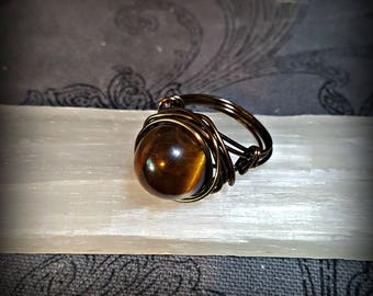 Tiger's Eye Ring for Grounding & Clarity