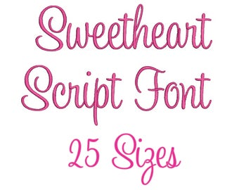 25 Sizes Sweet Heart  SweetHeart Script Embroidery Font Design Embroidery Fill Machine Instant Download Digital File END020