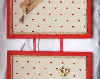 Hearts fabric double Cork Board