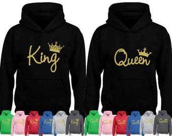 GOLD letters Couple Hoodies KING and QUEEN Couples Cute Matching Love Couples Valentine's Day Gift