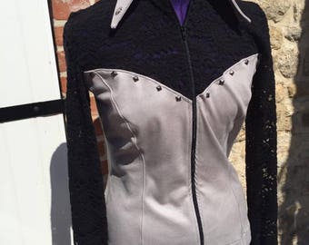 Style corset grey & black western show shirt