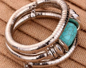 Tibetan Silver Turquoise Bangle Adjustable Bracelet