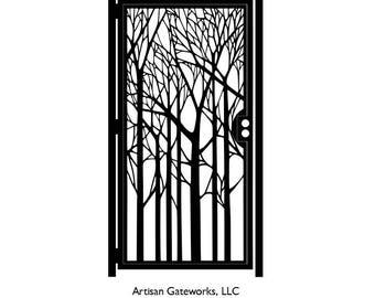 Decorative Forest Steel Gate - Nature Metal Art - Woodland Panel Art - Steel Wall Panel - Wall Accent - Garden Gate Art