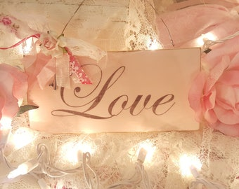 Vintage Shabby Chic Pink Painted Wood Sign Valentine Hanging Sign Love Pink Rose Vintage Key Romantic Lace Love Sign