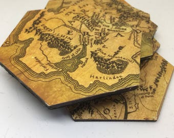 Lord Of The Rings Coasters  Hexagonal JRR Tolkein Inspired Home Decor The  Shire Home Accessories