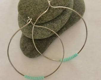 Bohemian beaded hoops