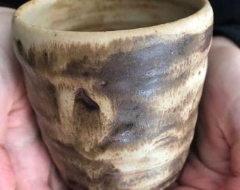 Wood fired tea bowl / cup / japanese inspired pottery / ceramic mug / tan black glaze