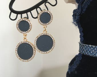 Round gold rimmed charcoal double drop earrings