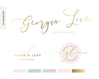 Gold Logo Design Pre Made Logo logo feminine logo Brand Design Pre made branding kit set handwritten calligraphy font watermark