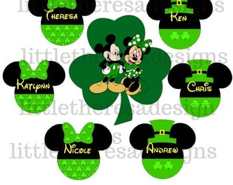 Mickey and Minnie Shamrock St Patricks Day Digital Image ,Diy