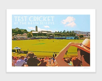 Cricket Print, New Zealand Art, Basin Reserve, Wellington, Cricket Art, Travel Poster, Retro, Wall Art, NZHolidayArt