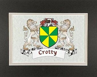 "Crotty Irish Coat of Arms Print - Frameable 9"" x 12"""