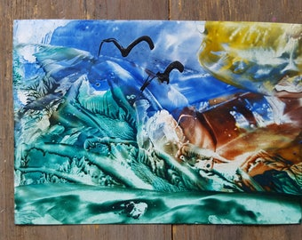 encaustic wax painting spiritual picture was ironing paper