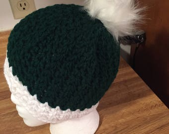 Faux fur pom pom beanie hat, beanie, skull cap, crochet hat, crochet beanie, winter hat