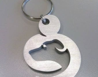 Dog-polished aluminum-Friend Dog keychain Keyring