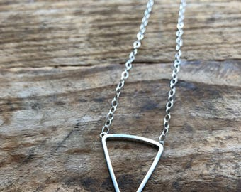 Sterling silver triangle necklace handmade