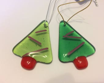 Set of two fused glass Christmas trees