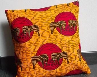 Square Cushion cover genuine wax fabric