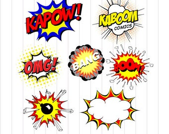 INSTANT DOWNLOAD - Superhero Svg File, Superhero Burts Clipart Svg, Superhero Clipart, Super hero Comic Speech Bubble Clipart, Comic Clipart
